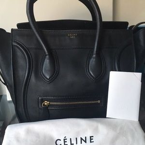 Celine Black Leather Mini